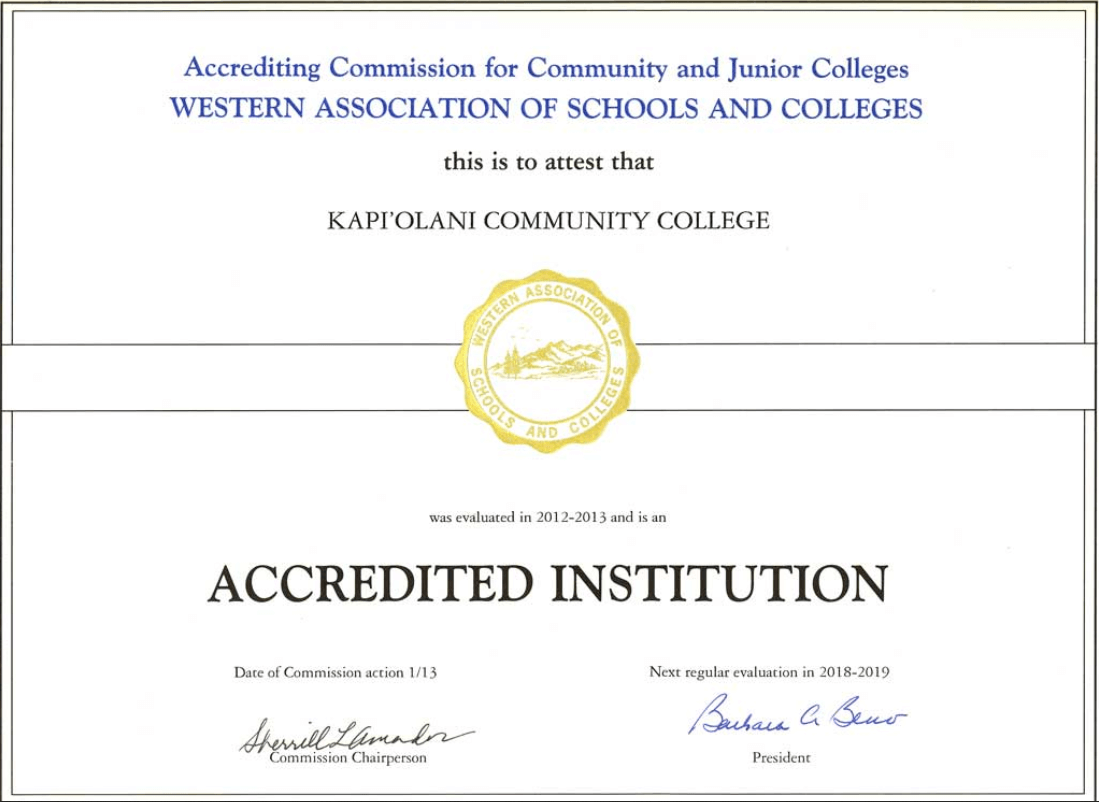 ACCJC accreditation certificate
