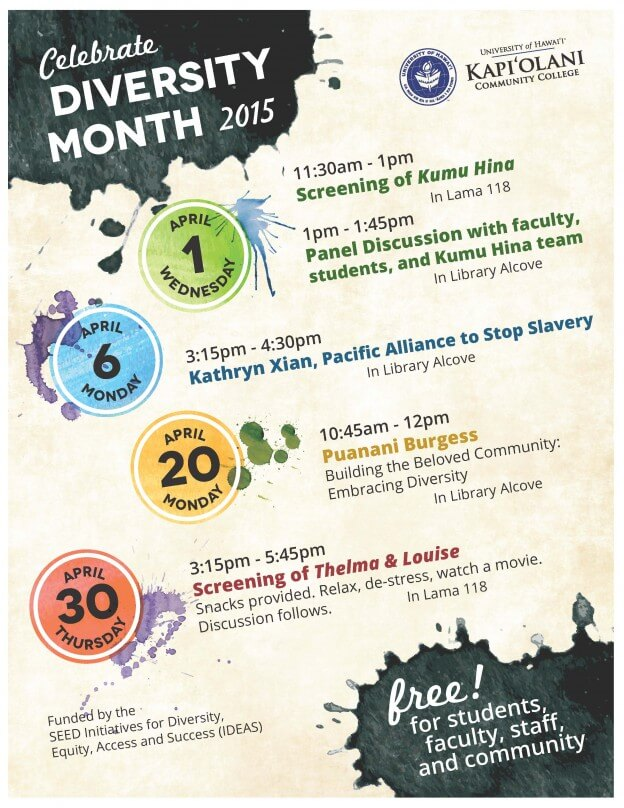 Diversity Month events in Lama Library   Kapi'olani ...