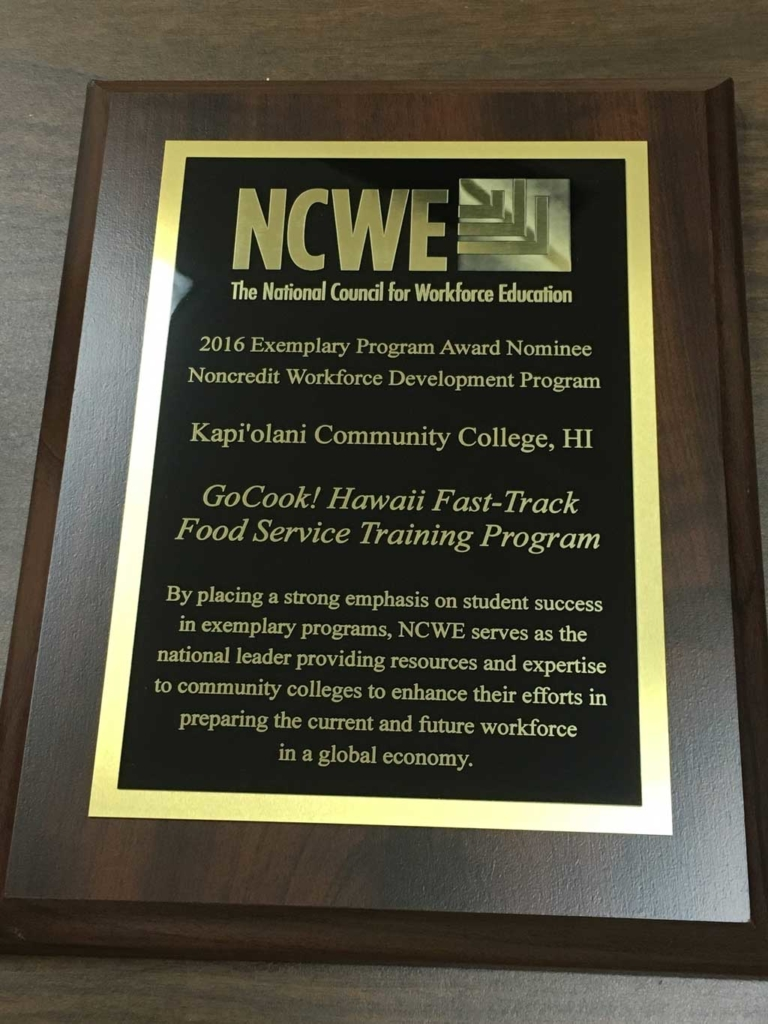 NCWE award plaque