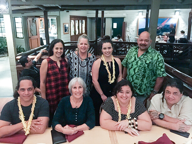 Left to right, back row: Annie Thomas (Library), Keolani Noa (Native Hawaiian Academic Advancement Coordinator, Title III and Chair of Kalāualani), Kate Shanaghan (Information Analyst within the Centre for Business, Research and Enterprise, Toi-Ohomai) and Nāwa'a Napoleon (Dean of Arts and Sciences, Principal Investigator for Title III). Left to right, seated: Heddell (Dell) Tūrahiri Raerino (Head of Department - Bicultural, Bridging and Foundation Studies, Toi-Ohomai), me, Rawhia Te Hau–Grant (Education, Social Science & Languages Department, Toi-Ohomai), and Kapulani Landgraf (Title III Part A Project Director and Arts & Humanities)