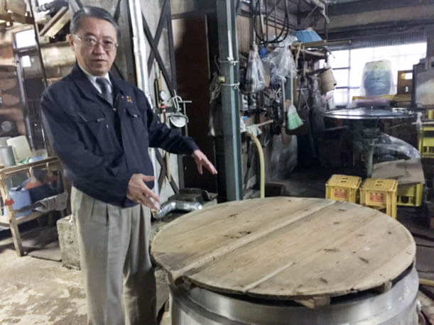 Mr. Kamiya showed us around his distillery, including the giant vessels that steam the rice.