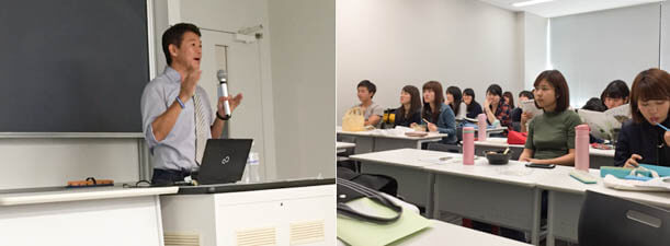 At Meiji University, Takashi also made presentations about Kapi'olani Community College to students.