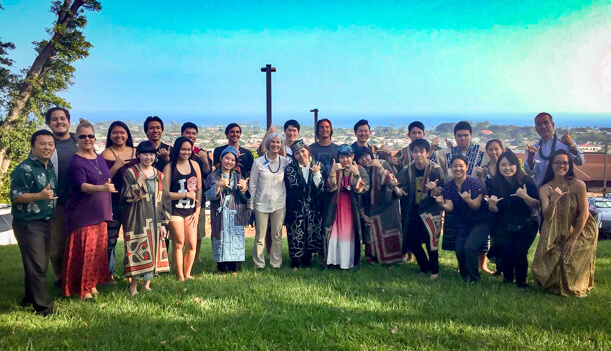 Ainu visitors and locals group