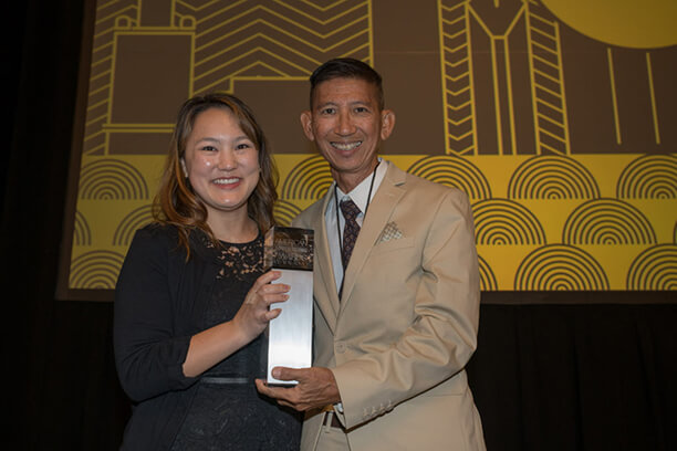 Kimi Lung with Paul Lam of the Pele Awards'